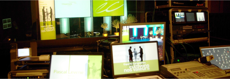 Organisation convention avec sonorisation, éclairage, vidéo